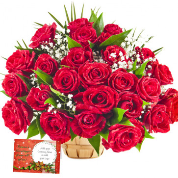 Fresh Fragrance - 24 Red Roses Basket + Card