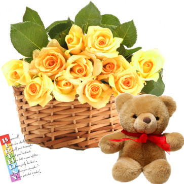 "Specially for You - 15 Yellow Roses Basket+ Teddy 6"" + Card"