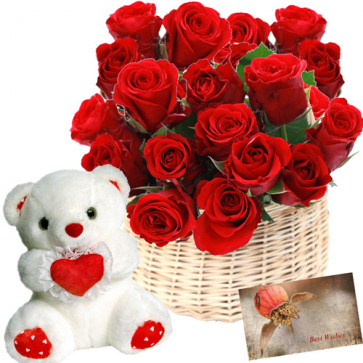 "Keep Smiling - 20 Red Roses Basket + Teddy 8"" + Card"