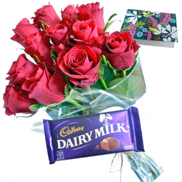 Roses N Chocolate - 10 Red Roses + Dairy Milk + Card