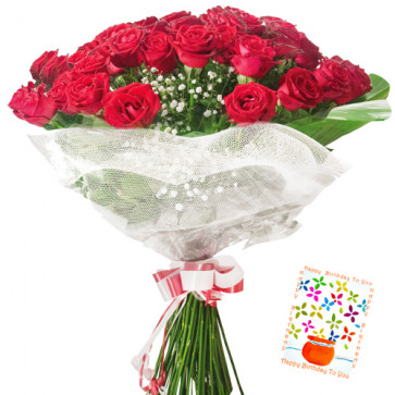 Cute Gift - 75 Red Roses + Card