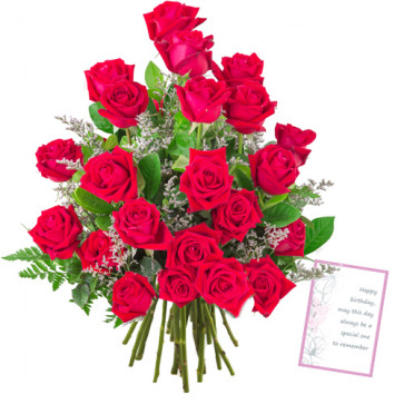 Lovely Roses - 12 Red Roses Bunch + Card