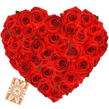 Close to My Heart - Heart Shaped 100 Red Roses + Card