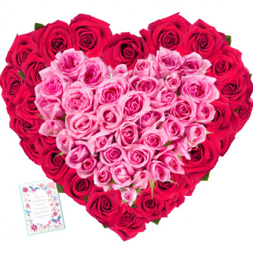 Rose Garden - Heart Shaped 150 Red & Pink Roses + Card