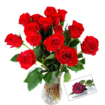 Lovely Roses - 12 Red Roses in Vase + Card