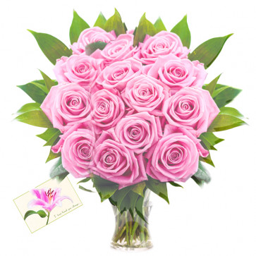 For Someone Special - 15 Pink Roses in Vase + Card