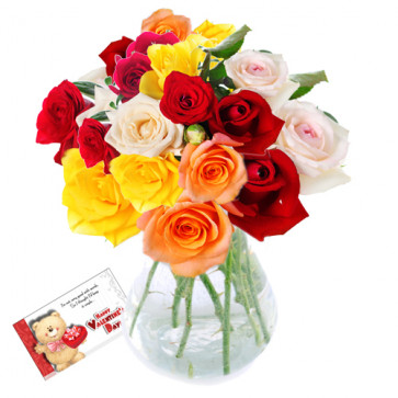 Gracious - 30 Assorted Roses In Vase + Card