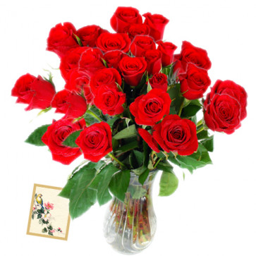 Passion of Red - 24 Red Roses in Vase + Card