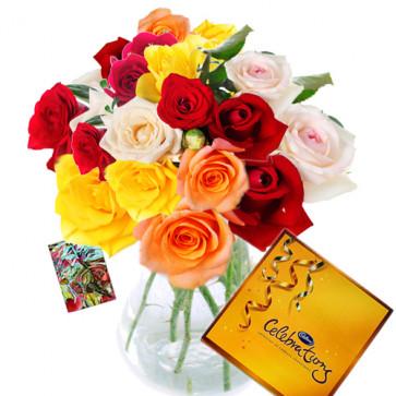Floral Emotions - 24 Mix Roses in Vase + Cadbury's Celebrations 162 gms + Card