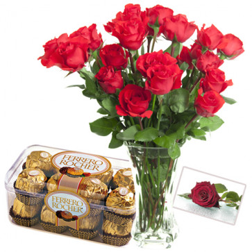 Classic Choice - 12 Red Roses in Vase + Ferrero Rocher 16 pcs + Card