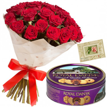 Flowers N Cookies - 12 Red Roses + Danish Butter Cookies 454 gms + Card