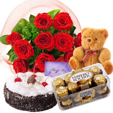Splendid Love - 12 Red Roses + 1/2kg Cake + Ferrero Rocher 16 pcs + Teddy + Card