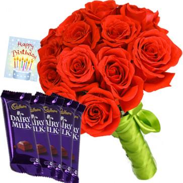 Roses & Dairy Milk - 12 Red Roses + 5 Dairy Milk + Card