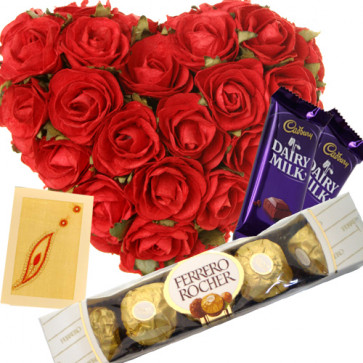 Chocos - 30 Red Roses Heart + 2 Dairy Milk + Ferrero Rocher 4 Pcs + Card
