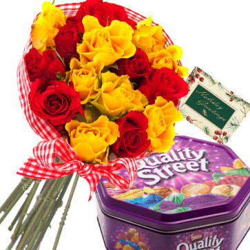 Heart of Chocolates - 20 Red & Yellow Roses + Nestle Quality Street + Card