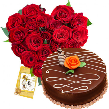Classic Combo - 30 Red Roses Heart + Chocolate Cake 1kg + Card