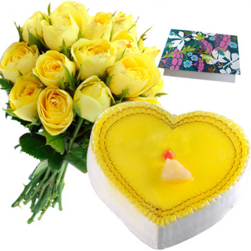Way of Love - 15 Yellow Roses + Pineapple Heart Cake 1kg + Card