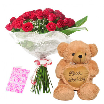 "Love Gift - 12 Red Roses + Heart Soft Toy 8"" + Card"