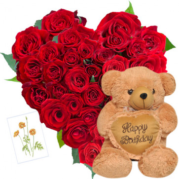 Lovable Combo - 50 Red Roses Heart Shaped + Teddy with Heart 10' + Card