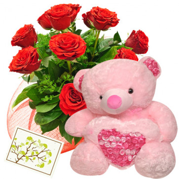 "Roses & Big Teddy - 15 Red Roses Bunch + Teddy with Heart 24"" + Card"