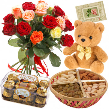 "Smashing Gifts - 15 Mix Roses + Teddy Bear 6"" + Ferrero Rocher 16 pcs + 200 Gms Assorted Dryfruits Basket + Card"