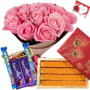 Remarkable Gifts - Bouquet 12 Pink Roses + Kaju Kesar Katli Box 250 Gms + 5 Cadbury Chocolate Bar + Card