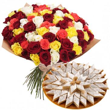 Magnificent - Bouquet Of 50 Multi Color Roses + Kaju Katli Sweet Box 250 Gms  + Card