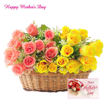 Flowers For Mumma - 24 Pink and Yellow Roses Basket and Card