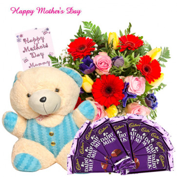 """Flowers Hamper - 50 Assorted Flowers in Bunch, Teddy 8"""", 10 Dairy Milk 20 gms each and Card"""