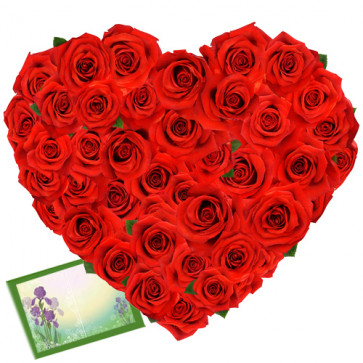 Soft As Heart - 50 Heart Shaped Red Roses + Card