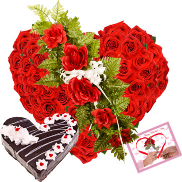 Heart Roses & Cake - Heart Shaped Arrangement 50 Red Roses + Black Forest Cake 1 kg + Card