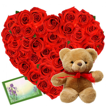 Love Heart - 40 Red Roses Heart Shaped Arrangement + Teddy 6' + Card