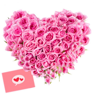 Romantic Heart - 100 Pink Roses Heart Shaped Arrangement + Card