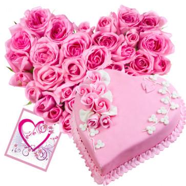 Elegant Heart - - 40 Pink Roses Heart Shaped + Heart Strawberry Cake 1 kg + Card