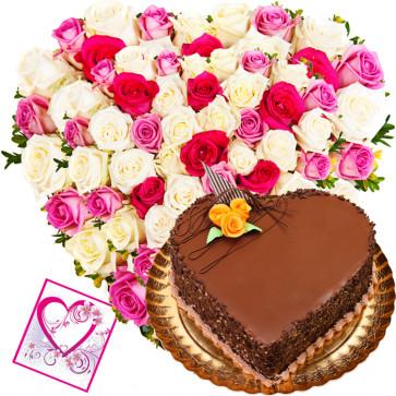 Choco Heart - 50 Mix Roses Heart Shaped Arrangement + Chocolate Heart Cake 1 kg + Card