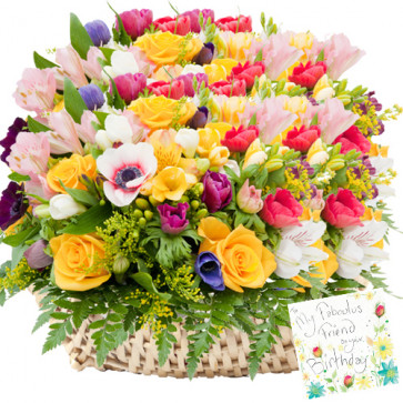 A Big Hug - 100 Assorted Flowers Basket + Card
