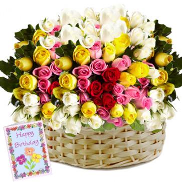 Garden of Roses - 200 Mix Roses Basket + Card