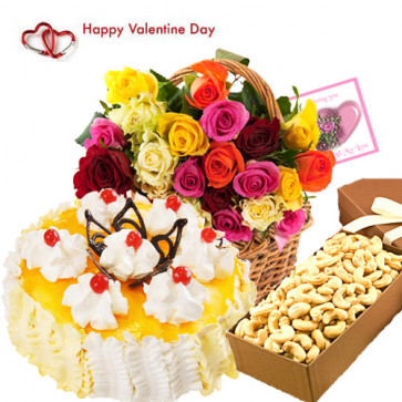 Valentine Pina Treat - 50 Mix Roses in Basket, 1/2 kg Pineapple Cake, 400 gms Cashew in Box and Card