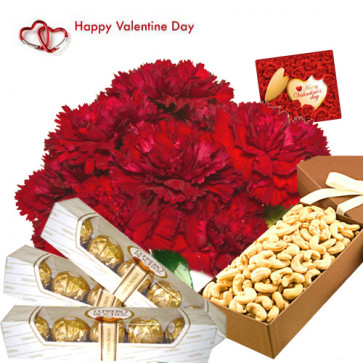 Valentine Dry Fruits - 12 Red Carnations in Bunch, Cashew 200 gms box, 3 Packs Ferrero Rocher 5 pcs and Card