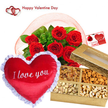 "Valentine Sweet Heart- 15 Red Roses, Heart Shape Pillow 8"", Assorted Dryfruit 400 gms in Box and Card"