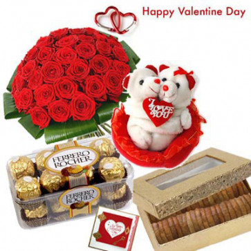"Valentines Dryfruit Hamper - 40 Red Roses in Bunch, Couple Teddy 8"", Ferrero Rocher 16 pcs, Anjir 200 gms in Box and Card"