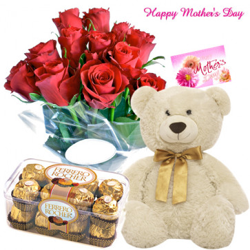 Friendly Mother - Bunch of 12 Red Roses, Ferrero Rocher 16 pcs, 6 inch teddy and Card