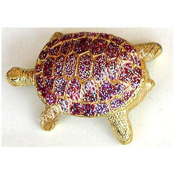 Bejeweled Metal Turtle