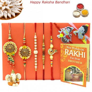 Rakhi Family Set - Bhaiya Bhabhi Rakhi with Sandalwood, Diamond, Pearl and 2 Kids Rakhis