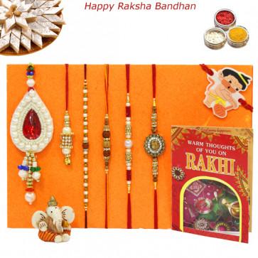 Rakhi Family Set - Rudraksha with Sandalwood, Diamond, 2 Lumbas, Pearl and Kids Rakhis