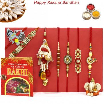 Rakhi Family Set - Rudraksha with Auspicious, 3 Diamond, Lumbas and Kids Rakhis