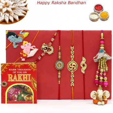 Rakhi Family Set - 2 Auspicious with 2 Diamonds, Lumba and 2 Kids Rakhis