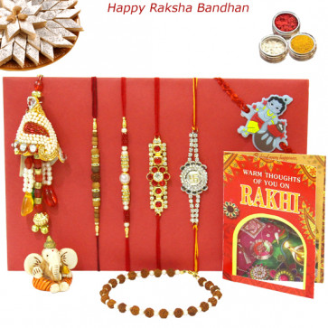 Rakhi Family Set - Sandalwood Rakhi with Mauli, Bracelet, Diamond, Pearl, Lumba and Kids Rakhis