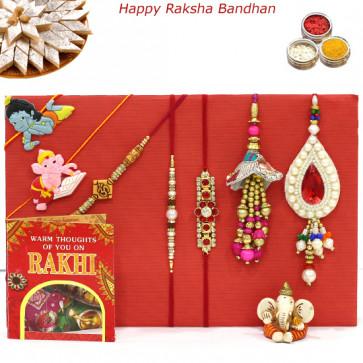 Rakhi Family Set - Auspicious Rakhi with Diamond, Pearl, 2 Lumba and 2 Kids Rakhis