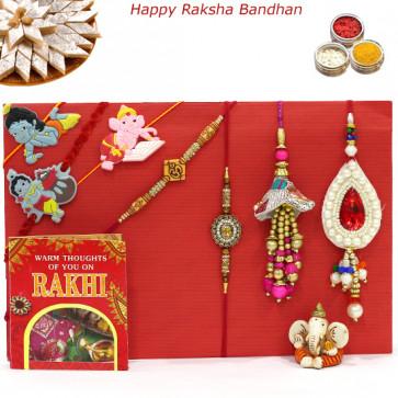 Rakhi Family Set - Diamond Rakhi with Auspicious, 2 Lumba and 3 Kids Rakhis